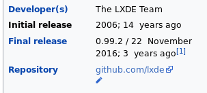 Info from LXDE Wikipedia page 14 Aug 2020 3:00 PM EDT US